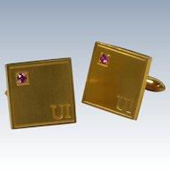 U I  Pink Rhinestone Gold  Tone Square Cufflinks