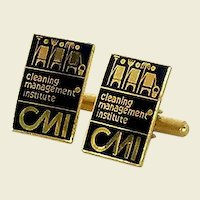 CMI Gold Tone Black Cuff Links Cufflinks