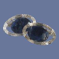 Dante Silver Tone Blue Stone Cuff Links Cufflinks