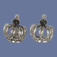 Swank Silver Tone Crown Blue Rhinestone Cuff Links Cufflinks