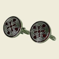 Enamel Red and Black Design Silver Tone Cuff Links Cufflinks