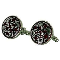 Enamel Red and Black Design Silver Tone Cuff Links Cufflinks