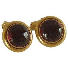 Swank Round Glass Button Gold Tone Cufflinks Cuff Links