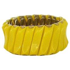 Bright Yellow Expandable Accordion Cuff Bracelet