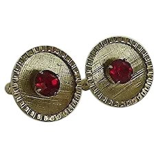 Gold Tone Round Cuff links with Red Faceted Rhinestone