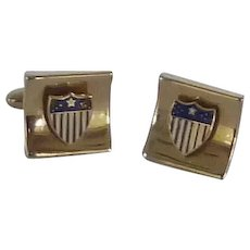 Gold Tone American Flag Shield Cufflinks Cuff Links