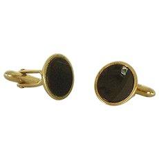 Round Black Gold Tone Swank Cuff Links Cufflinks