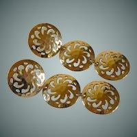 Three Filigree Disc Gold Tone Earrings Pierced