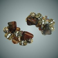 Crystals, Rhinestones with Brown Beads Clip On Earrings