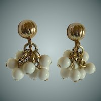 Dangle White Beads with Gold Tone Setting Screw Type Earrings
