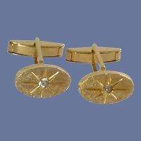 Oval Gold Tone with Diamond Rhinestone Cufflinks Cuff Links