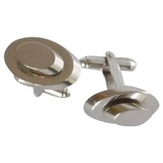 Silver Tone Three Dimensional Cuff Links Cufflinks