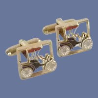 Gold Tone Model T Car Cufflinks Cuff Links