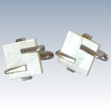White Mother of Pearl Silver Tone Cufflinks Cuff Links