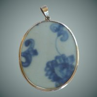 China Pottery Sterling Silver Pendant