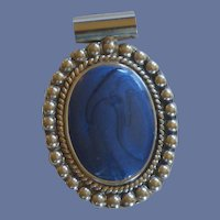 Cobalt Blue Faux Stone Pendant in Silver Tone Fitting