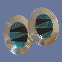 Large Navajo Indian Sterling Silver Inlay Stone Pierced Earrings