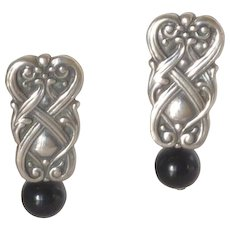 Celtic Silver Tone with Black Bead Pierced Earrings
