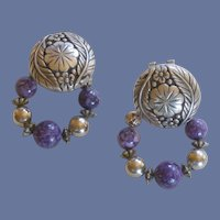 Two Silver Tone Earrings in One with Purple Bead  Rings