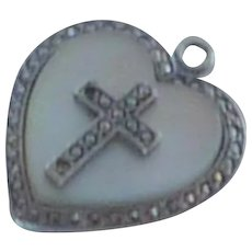 Sterling Silver Marcasite Heart with Cross Charm Pendant