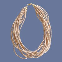 Multi Row Faux Pearl Collar Necklace