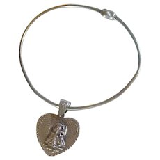 Bracelet with Sterling Silver Heart Religious Figure