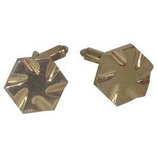 Gold tone Sprocket Windmill Round Cufflinks Cuff Links