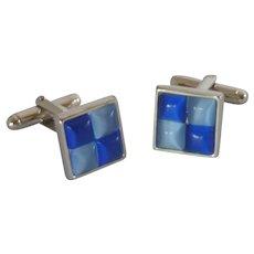 Cobalt and Light Blue Silver Tone Cufflinks Cuff Links