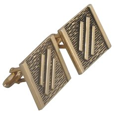 Swank Square Gold Tone Asian Look Cufflinks Cuff Links
