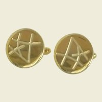 Gold Tone Round Abstract Cuff Links Cufflinks