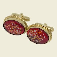 Oval Gold Tone Red Cufflinks Cuff Links