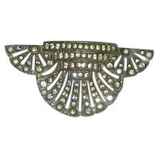 Art Deco Diamond Rhinestone Dress Clip