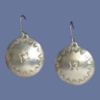 Sterling Silver Signed Pierced Southwestern Earrings