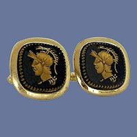Gold Tone Black Centurion Roman Warrior Cuff Links