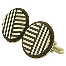 Black Round Silver Toned Swank Cufflinks Cuff Links
