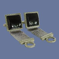 Dante Silver Tone Black Wrap Around Cuff Links Cufflinks