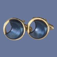 Gold Tone Black Moon Shape Cuff Links Cufflinks
