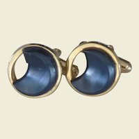 Gold Tone Black Moon Shape Cuff Links Cufflinks