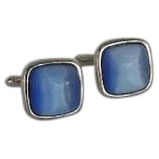 Square Blue Moon Glow Stone Silver Tone Cufflinks Cuff Links