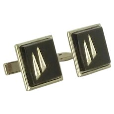 Silver Tone Black Square Cuff Links Cufflinks