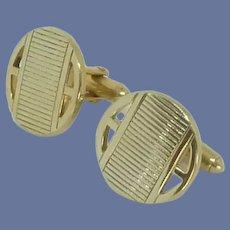Swank Round Gold Tone Cufflinks Cuff Links