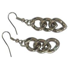 Silver Toned Pierced Fish Hook Chain Earrings