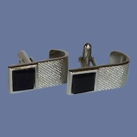 Swank Silver Tone with Black Tile Cuff Links Cufflinks