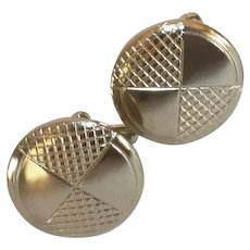 Gold Tone Round Disc Cuff Links Cufflinks
