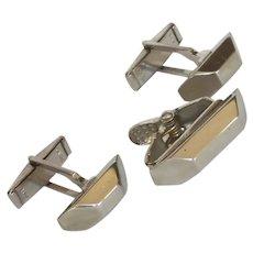 Silver Tone Cuff Links Cufflinks and Tie Bar 1960's