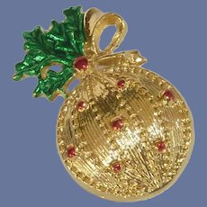 Gold Tone Christmas Ball Ornament Pin Brooch