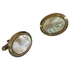 Mother of Pearl Oval Gold Tone Cuff Links Cufflinks