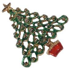 Green Christmas Holiday Tree Pin Brooch