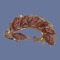 Goldstone Leaf Gold Tone Brooch Pin