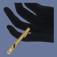 Gold Tone Elegant Rhinestone Black Tie Bar Clip